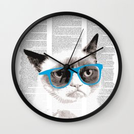 Cat with glasses Wall Clock