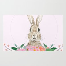 rabbit and pink camellia flower Rug