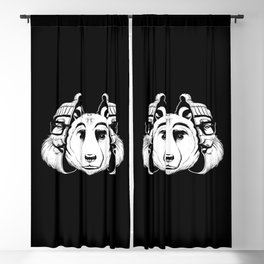 Bear Inside Black And White Blackout Curtain