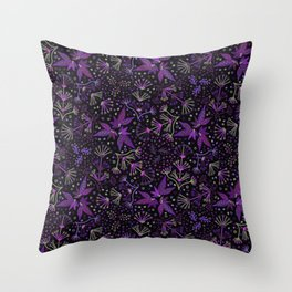 Purple Night Glow Flower Meadow , Rich Fuchsia Pink and Lilac Blooms Glowing in the Dark Black Night Throw Pillow