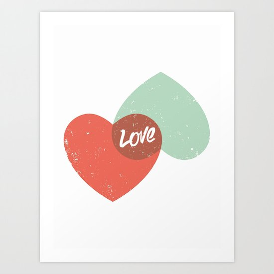 Two lovely hearts Art Print