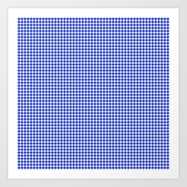 Cobalt Blue and White Houndstooth Check Pattern Art Print