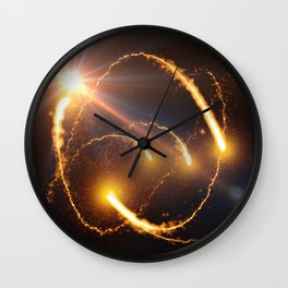 Flying Comets and light rays, digital art Wall Clock