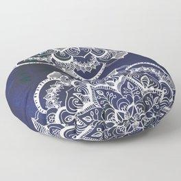 White Feather Mandala on Navy Floor Pillow