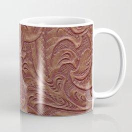 Chocolate Brown Tooled Leather Coffee Mug