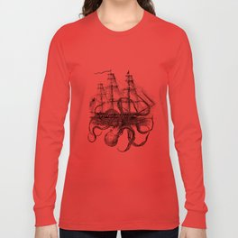 Octopus Kraken attacking Ship Antique Almanac Paper Long Sleeve T-shirt