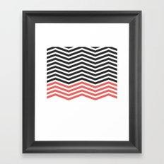 Modern Geometric Chevron Pattern Hip Black Red Framed Art Print