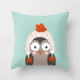 Owl Under Snow in the Christmas Time. Throw Pillow