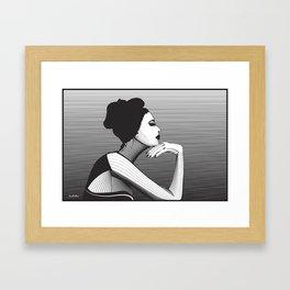 Black and White Female Framed Art Print