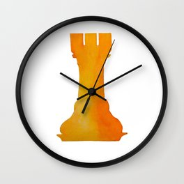 Chess Rook Watercolor Wall Clock