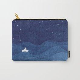 blue ocean waves, sailboat ocean stars Carry-All Pouch