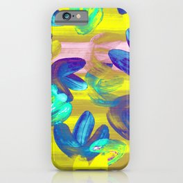 Vibrant Acrylic Painting Layered Tulips Floral Pattern Neon Lime Yellow, Mint Green, Purple, Summer Party Vibe iPhone Case