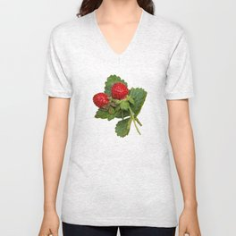 Indian strawberries on birch bark Unisex V-Neck