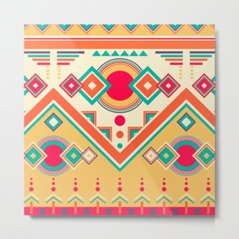 Colorful Ethnic Bohemian Pattern Metal Print