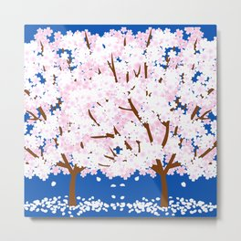 two cherry blossom trees together Metal Print