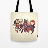 superheros Tote Bags featuring Super BFFs by Dooomcat