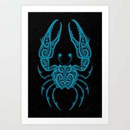 Blue Cancer Zodiac Sign in the Stars Art Print