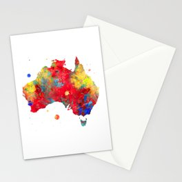 Australia Watercolor Map Painting Stationery Cards
