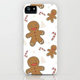 Cute gingerbread man seamless iPhone Case
