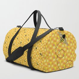 Bees on Honeycomb Pattern Duffle Bag