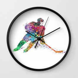 Girl Ice Hockey Sports Art Print Wall Clock