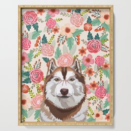 Husky red coat floral pet portrait art print and dog gifts Serving Tray