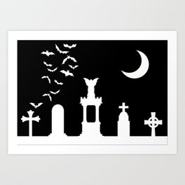 The Graveyard By Moonlight Art Print