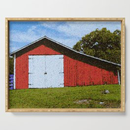 Red Barn Serving Tray