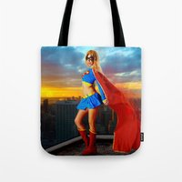 supergirl Tote Bags featuring Supergirl by Shana-e