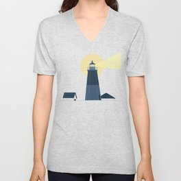 Lighthouse at Night Beach Decor Illustrated Print Unisex V-Neck