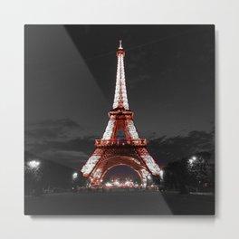 Paris Eiffel Tower Pink Night Metal Print