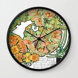 Romance in Paris, Art Nouveau Floral Nostalgia Wall Clock