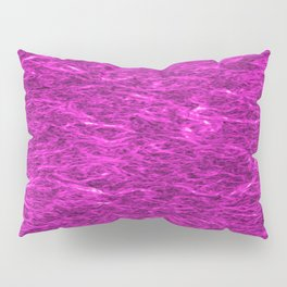 Horizontal metal texture of bright highlights on pink waves. Pillow Sham