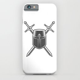 Helmet and Swords of a Medieval Knight Crusader iPhone Case