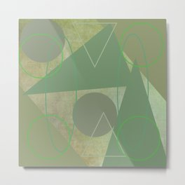 Subdued Green Geometric Abstract Metal Print