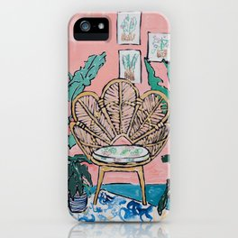 Wicker Shell Chair in Tropical Interior iPhone Case