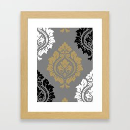 Decorative Damask Pattern BW Gray Ochre Framed Art Print
