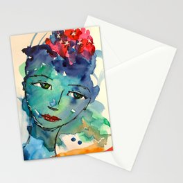 Green watercolor girl Stationery Cards