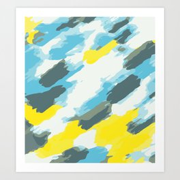 blue grey and yellow painting abstract background Art Print