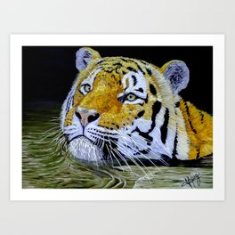 Tiger Art PRINT on Canvas from a Painting colorful ready to hang Gift  Art Print