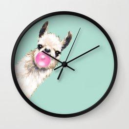 Bubble Gum Sneaky Llama in Green Wall Clock