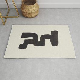 Black and White Minimalist Shapes Mid century Ink painting Rug