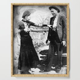 Painting Of Bonnie and Clyde Mock Robert Photo Serving Tray