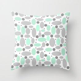 Grey turquoise retro polka dot sixties Throw Pillow