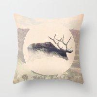 elk Throw Pillows featuring Elk by hipepper