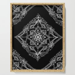 Mandala Doodle Pattern in Black & White Serving Tray