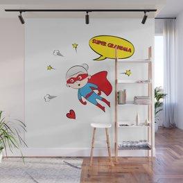 Flying Super Grandma Wall Mural