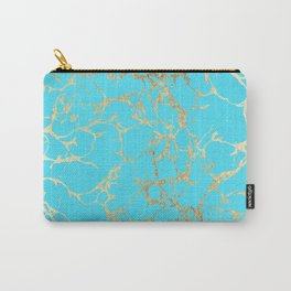 Modern aqua elegant faux gold foil marble pattern Carry-All Pouch
