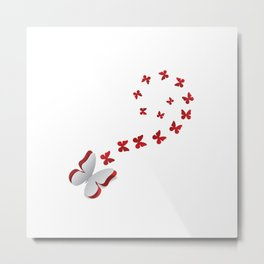 Red cut out butterfly Metal Print
