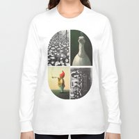 postcard Long Sleeve T-shirts featuring Postcard Collage by wetravelasequals